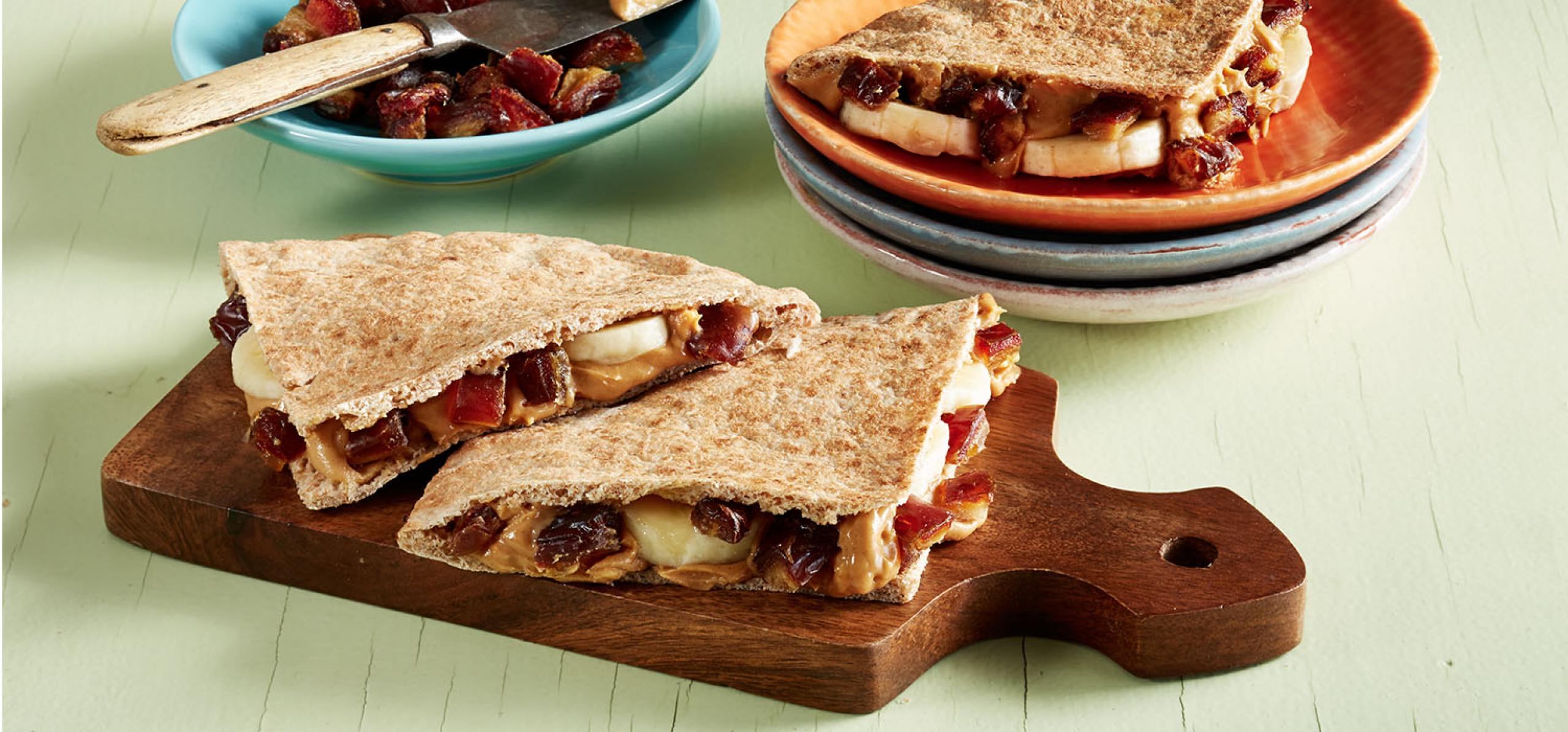 1500x700 Peanut Butter Banana and Medjool Date Pitas